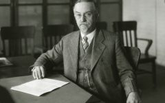 Dean of Agriculture, Alfred Vivian sitting at his desk; 1921